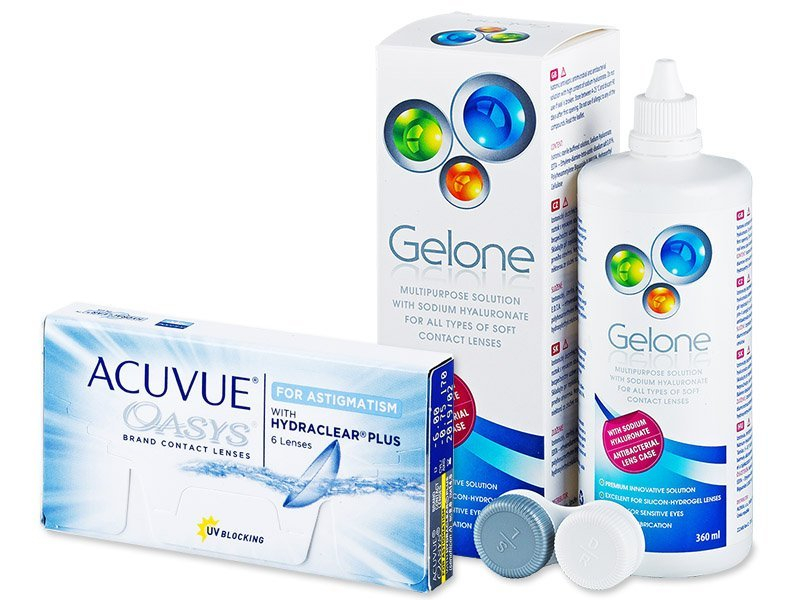 Acuvue Oasys for Astigmatism (6лещи) + разтвор Gelone 360мл - Пакет на оферта