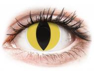Жълти контактни лещи - без диоптър - Жълти котешки (Cat Eye) - ColourVUE Crazy Lens (2 лещи)