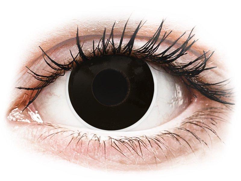 Черни, затъмнение (BlackOut) - ColourVUE Crazy Lens - с диоптър (2 лещи) - Coloured contact lenses