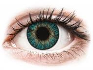 Сини контактни лещи - без диоптър - Тюркоазни (Turquoise) - FreshLook ColorBlends (2 лещи)