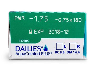 Dailies AquaComfort Plus Toric (30лещи) - Преглед на параметри