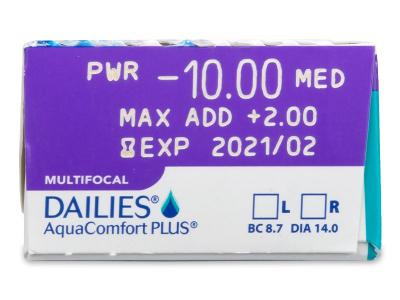 Dailies AquaComfort Plus Multifocal (30лещи) - Преглед на параметри