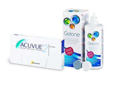 Acuvue 2 (6 лещи) + разтвор Gelone 360 ml