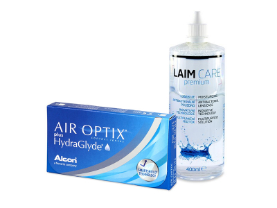 Air Optix plus HydraGlyde (3 лещи) + разтвор Laim-Care 400 ml