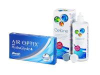 Air Optix plus HydraGlyde (6 лещи) + разтвор Gelone 360 ml