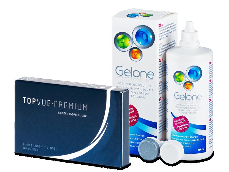 TopVue Premium (6 лещи) + разтвор Gelone 360 мл - Пакет на оферта
