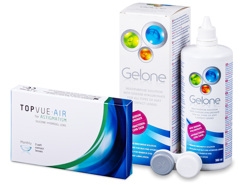 TopVue Air for Astigmatism (3 лещи) + разтвор Gelone 360 мл - Пакет на оферта