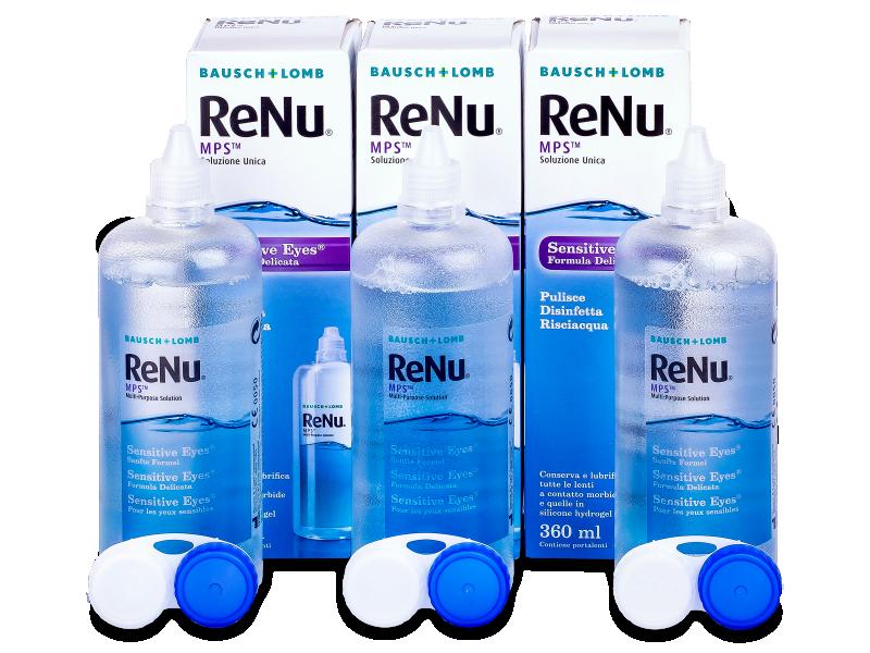 Разтвор Sensitive Eyes ReNu MPS 3 х 360 ml  - Икономичен пакет 3 разтвора