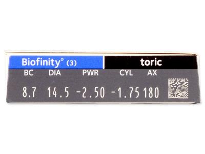 Biofinity Toric (3лещи) - Преглед на параметри