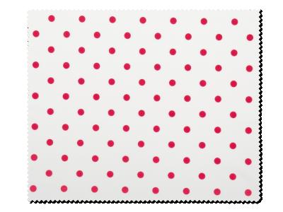Почистваща кърпа за очила - червени полка точки