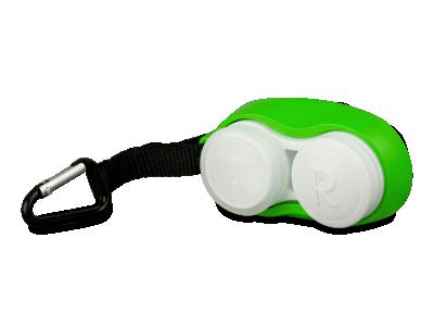 Зелен контейнер за лещи с клипс