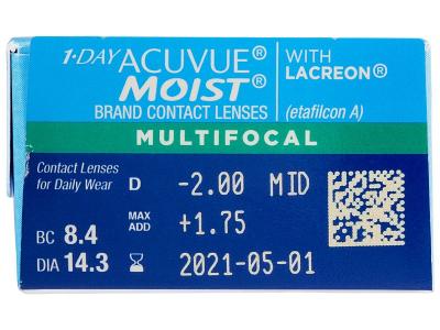 1 Day Acuvue Moist Multifocal (30 лещи) - Преглед на параметри