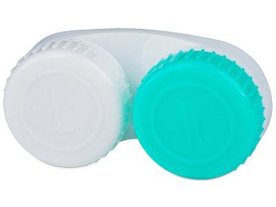 Зелено-бял контейнер за контактни лещи с маркировка