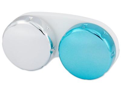Синьо-сребърен контейнер за лещи с огледален завършек