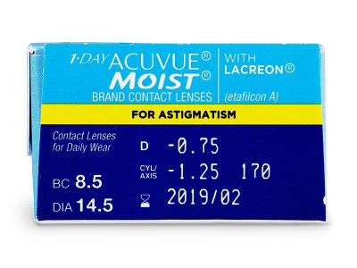 1 Day Acuvue Moist for Astigmatism (30лещи) - Преглед на параметри