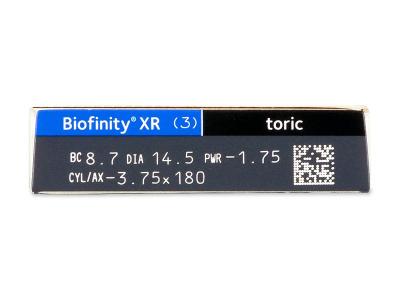 Biofinity XR Toric (3 лещи) - Преглед на параметри