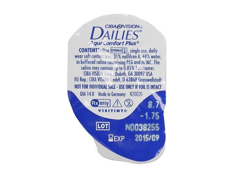 Dailies AquaComfort Plus (1 леща) - Преглед на блистер